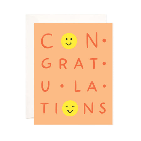 Smiley Congrats - Bloomwolf Studio Card in Orange Background and Print That Says Congratulations, 2  Happy Yellow Smileys