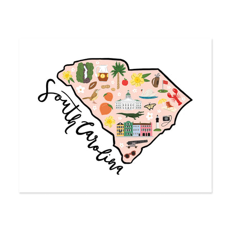 State Art Prints - South Carolina - Bloomwolf Studio Map Print of South Carolina, Bright Colors, Things to Do, Landmarks + Historical Places + Notable Places