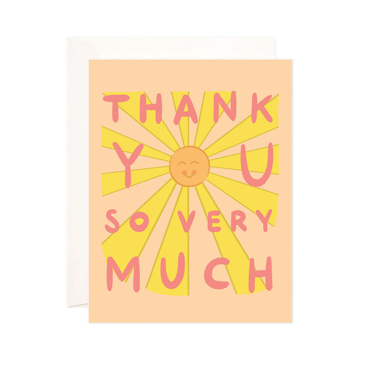 So Very Much - Bloomwolf Studio Thank You Card, Smiling Orange Sun, Yellow Rays, Pink Print