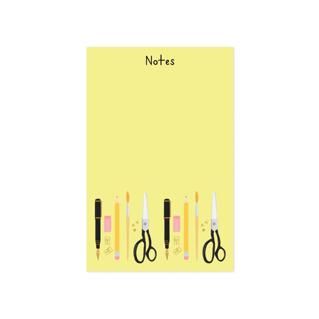 Stationery Notes Notepad - Bloomwolf Studio Yellow Notepad, Yellow Pencils and Brush, Black Pens and Scissors, Pink Erasers