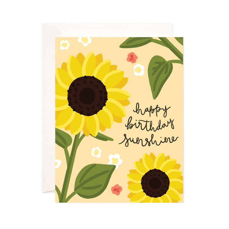 Sunflower Birthday - Bloomwolf Studio Card That Says Happy Birthday Sunshine, Sunflowers, Green Leaves, Small White Flowers