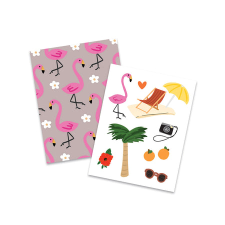 Sunshine Favorites Pocket Notebooks - Bloomwolf Studio Mini Notebooks, Pink Flamingos, White Flowers, Beach