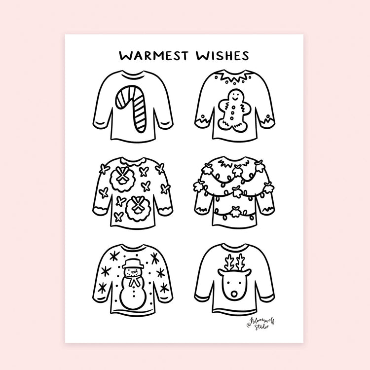 Christmas Sweaters Coloring Sheet