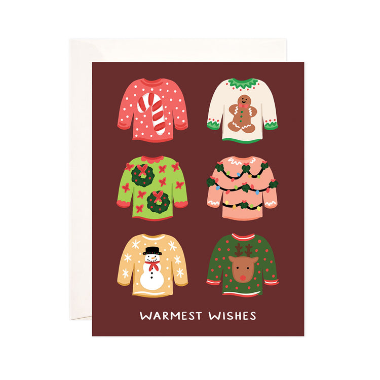 Sweater Weather - Bloomwolf Studio Card That Says Warmest Wishes, Brightly Colored 6 Sweaters, Christmas + Holiday Design Prints