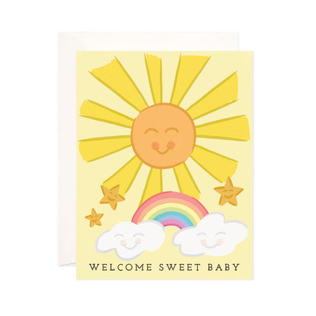 Sweet Baby - Bloomwolf Studio Yellow Card With Smiling Sun and Stars, Rainbow, Clouds, Black Print That Says Welcome Sweet Baby