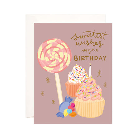 Sweet Birthday - Bloomwolf Studio Birthday Card, Orange and Yellow Cupcakes, Bright Colored Sprinkles, Candies, Lollipop