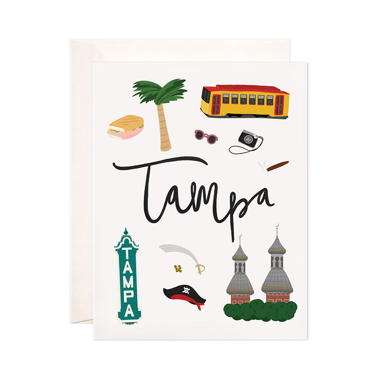 Tampa - Bloomwolf Studio Card About Tampa, Things to Do, Bright Colors, State Landmarks + Historical Places + Notable Places, Florida