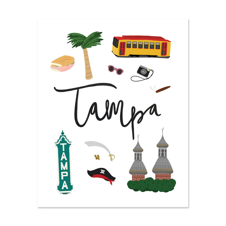 City Art Prints - Tampa - Bloomwolf Studio Print About Tampa, Things to Do, Bright Colors, State Landmarks + Historical Places + Notable Places, Florida
