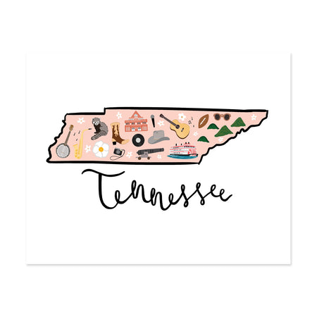 State Art Prints - Tennessee - Bloomwolf Studio Print of Tennessee Map, Bright Colors, Things to Do, State Landmarks + Historical Places + Notable Places