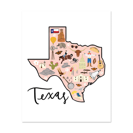 State Art Prints - Texas - Bloomwolf Studio Print About Texas, Peach Background, Bright Colors, City Landmarks + Historical Places + Notable Places, Things to Do