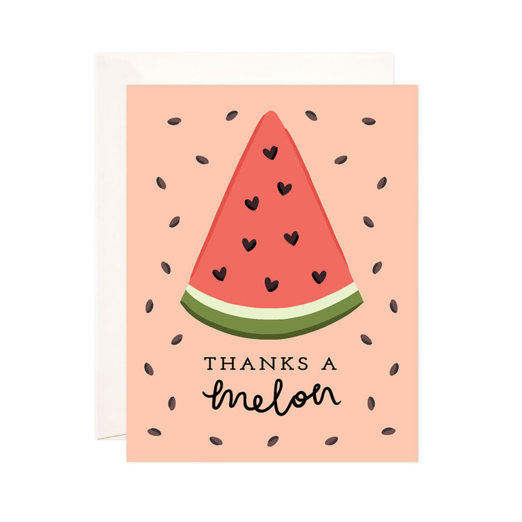 Thanks a Melon - Bloomwolf Studio Thank You Card That Says Thanks a Melon, Peach Background, 1 Slice Red Watermelon, Seeds