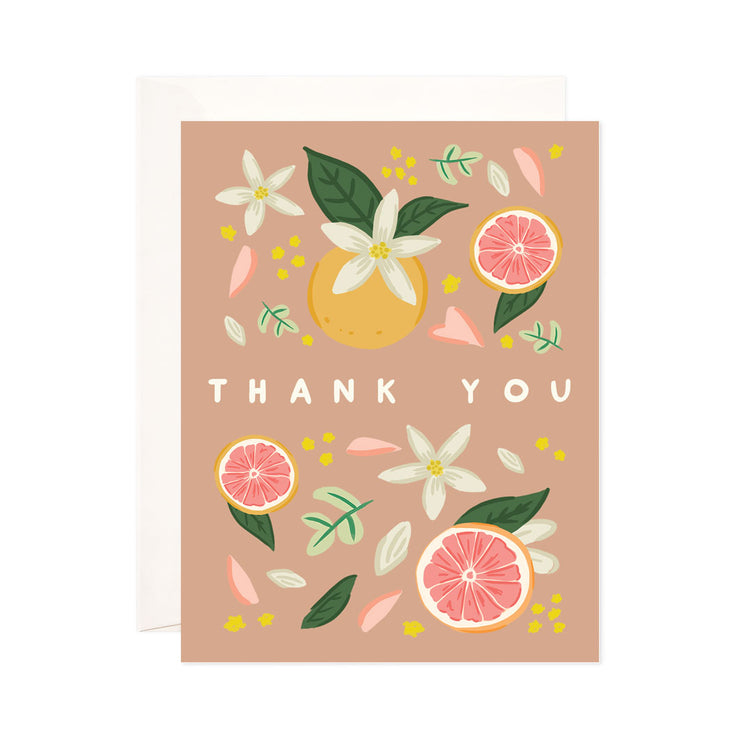 Thank You Citrus - Bloomwolf Studio Thank You Card, Grapefruit, White, Pink, Yellow Flower Petals