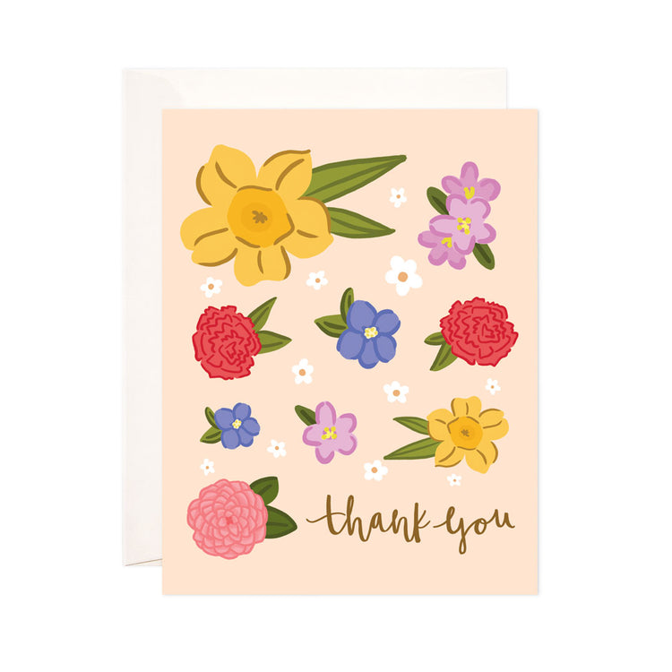 Thank You Florals - Bloomwolf Studio Thank You Card, Bright Colors (yellow, Violet + Purple, Red, Pink) Flowers