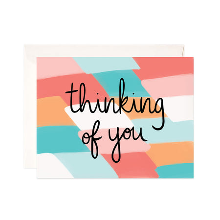 Thinking of You - Bloomwolf Studio Card That Says Thinking of You, Pastel Colors (red, pink, white, green) Background