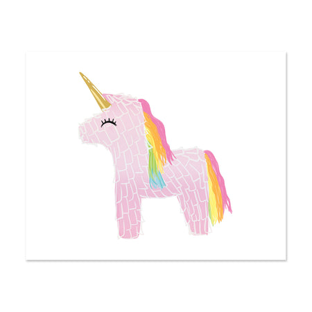Magical Unicorn - Bloomwolf Studio Pink Unicorn Print With Gold Horn, Rainbow Hair
