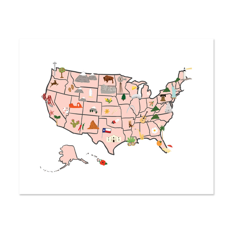 U.s Map Art Print - Bloomwolf Studio Print of Us Map, Peach Background, Bright Colors, City Landmarks + Historical Places + Notable Places, Things to Do, USA, United States
