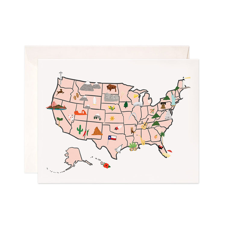 Us Map - Bloomwolf Studio US Map Card, Things to Do, Bright Colors, City State Landmarks + Historical Places + Notable Places, USA, United States