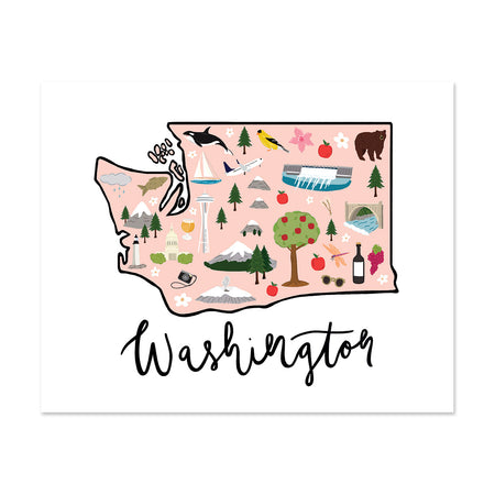 State Art Prints - Washington State - Bloomwolf Studio Print of  Washington Map, Things to Do, Bright Colors, City Landmarks + Historical Places + Notable Places