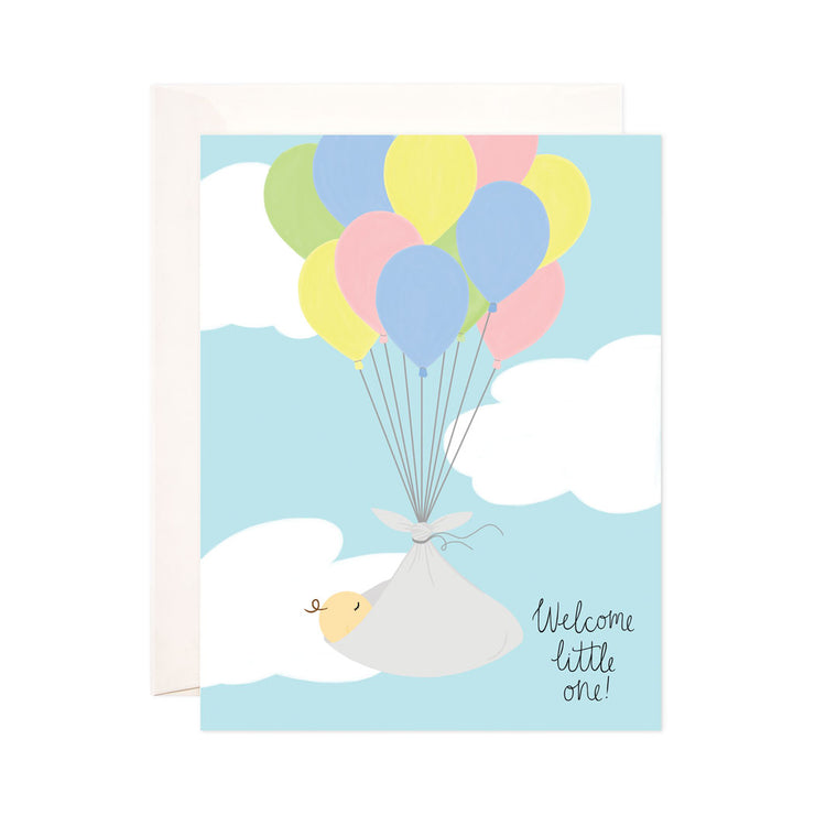 Welcome Little One - Bloomwolf Studio Card That Says Welcome Little One, Baby Carried by Green, Blue, Pink, Yellow Balloons