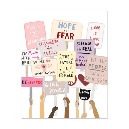 Women's March Art Print - Bloomwolf Studio Print of Women's March Protest, Yellow, Beige, Pink, Purple and Peach Placards + Signs