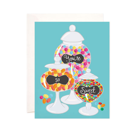 You're So Sweet - Bloomwolf Studio Card That Says You're So Sweet, Brightly Colored Candies in 3 Jars