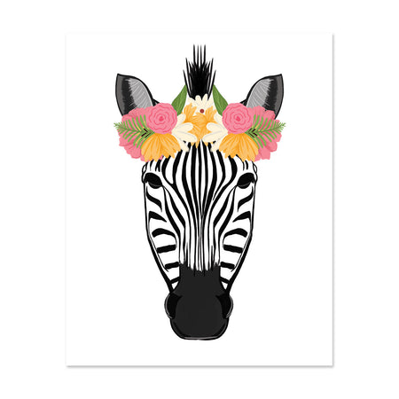 Pretty Zebra Art Print - Bloomwolf Studio Print of a Zebra Wearing a Crown Made of Pink, White and Orange Flowers