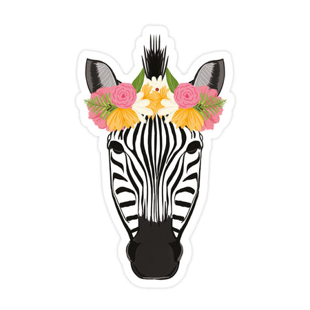 Pretty Zebra Sticker - Bloomwolf Studio Sticker With Zebra Wearing a Pink, Orange, White Floral Headdress