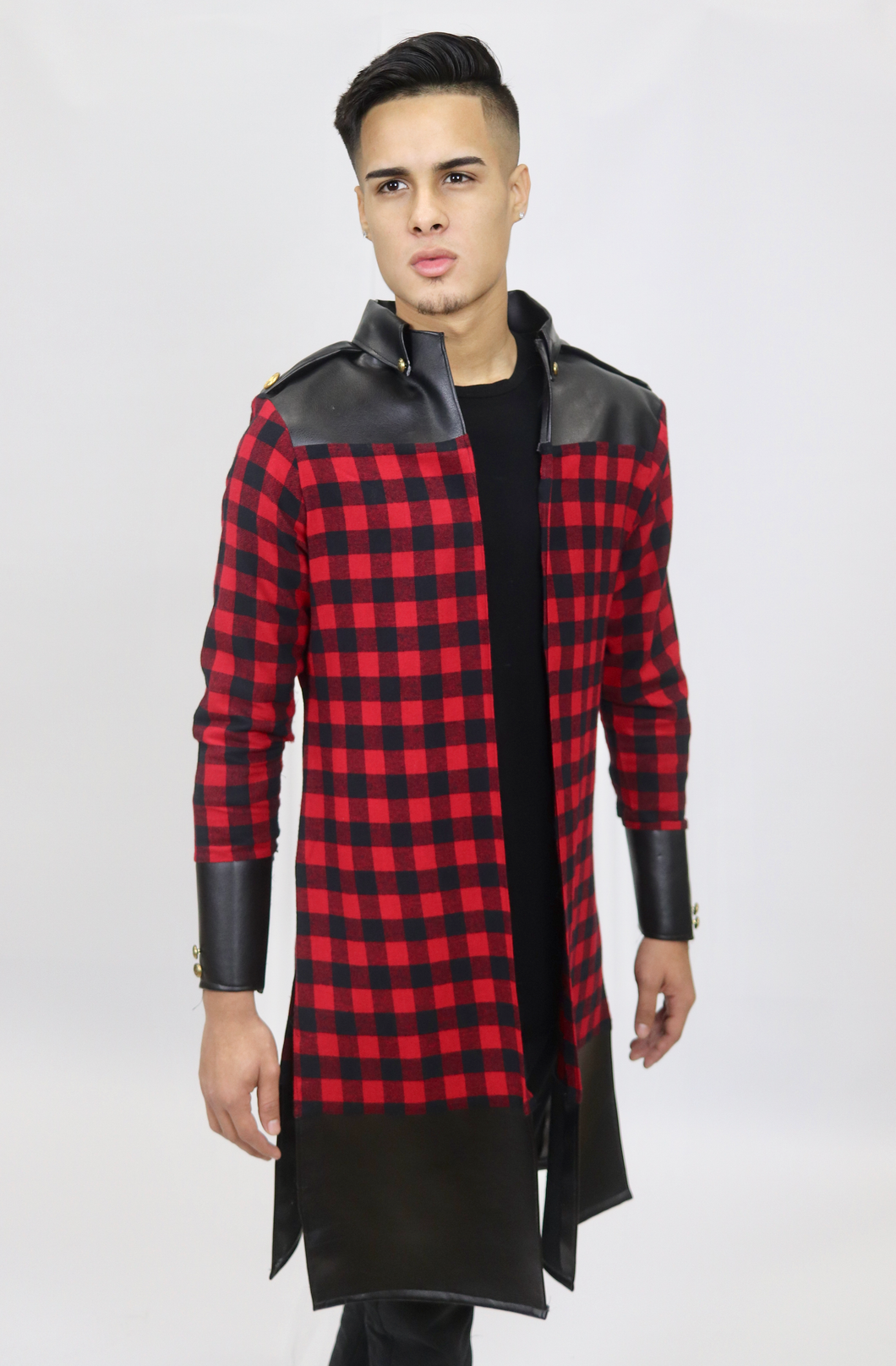 Buffalo Check Military Style Buttonless Shirt