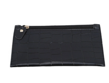 Load image into Gallery viewer, Black Croc Zipper Wallet