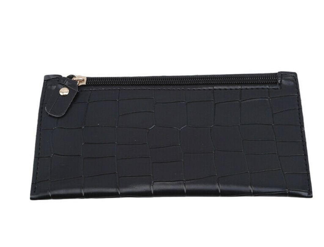 Black Croc Zipper Wallet