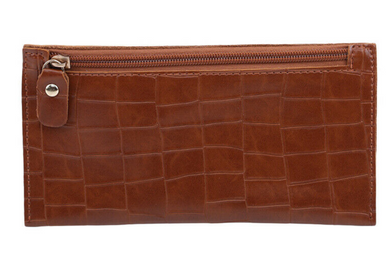 Brown Croc Zipper Wallet