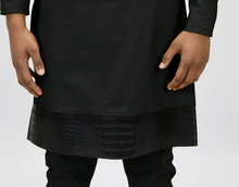 Load image into Gallery viewer, Black Rextan Shirt + Faux Croc Trim
