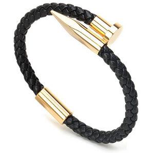 Black and Gold Braided Nail Bracelet