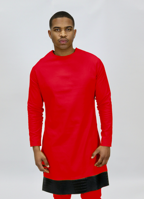 Red Rextan Shirt + Faux Black Croc Trim