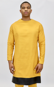 Mustard Yellow  Rextan Shirt + Faux Croc Trim