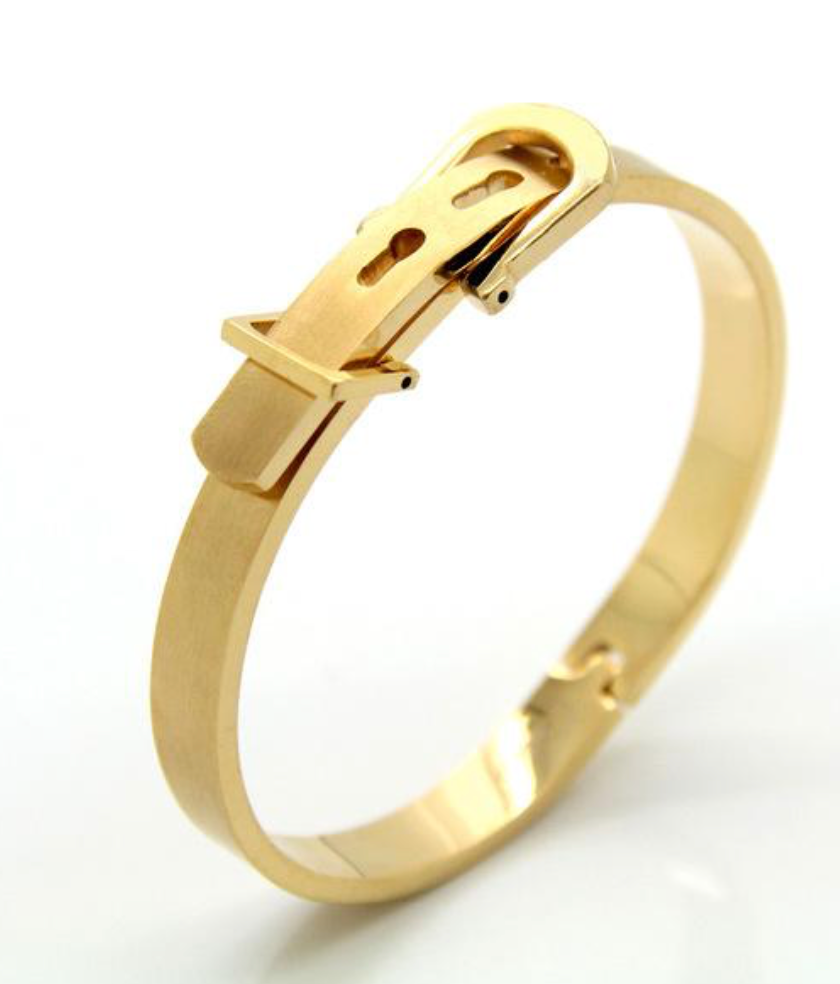 Stainless Steel Gold Finish Belt Buckle Bracelet