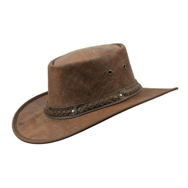 Barmah Squashy Roo Kangaroo Leather Bush Hat Hickory Crackle Sizes S-XXL