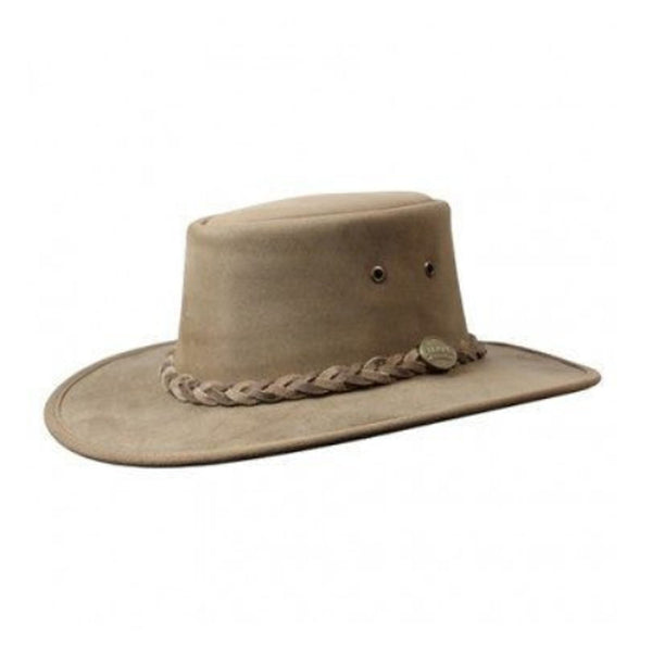 Barmah Squashy Bronco Wide Brim Foldable Leather Hat - Hickory Sizes S-XXL