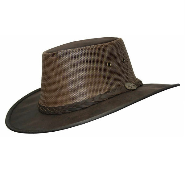 Barmah Squashy Roo Cooler Leather Bush Hat Crackle Brown Sizes S-XXL