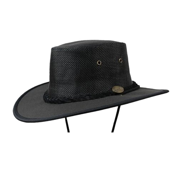 Barmah Canvas Drover Wide Brim Hat with Mesh Crown - Black Sizes S-XL