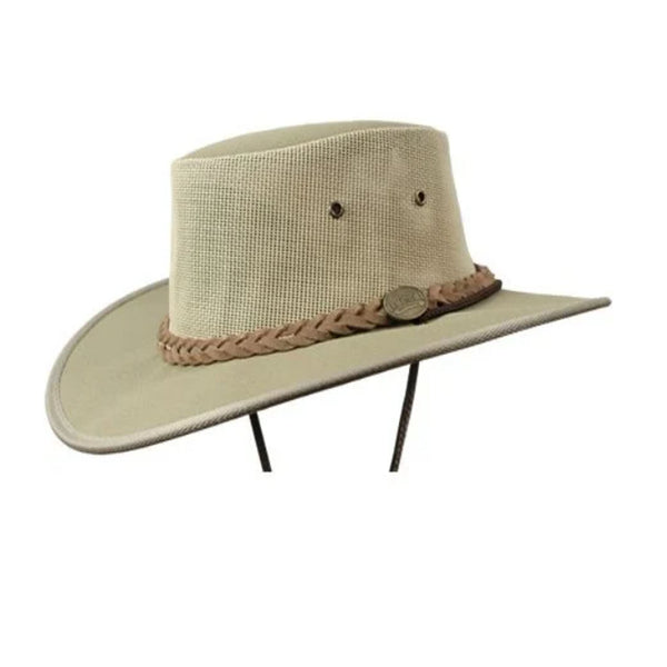 Barmah Canvas Drover Wide Brim Hat with Mesh Crown - Khaki Sizes S-XXL