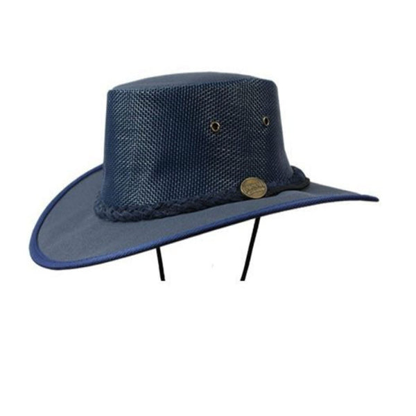 Barmah Canvas Drover Wide Brim Hat with Mesh Crown - Navy Blue Sizes S-XXL