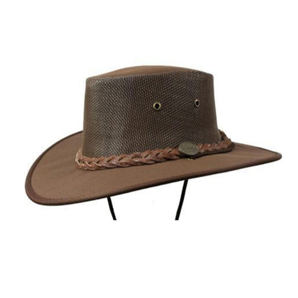Barmah Canvas Drover Wide Brim Hat with Mesh Crown - Brown Sizes S-XL