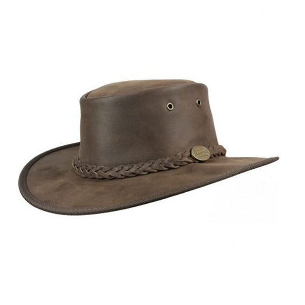 Barmah Foldaway Bronco Leather Foldable Bush Hat - Brown Sizes S-XXL