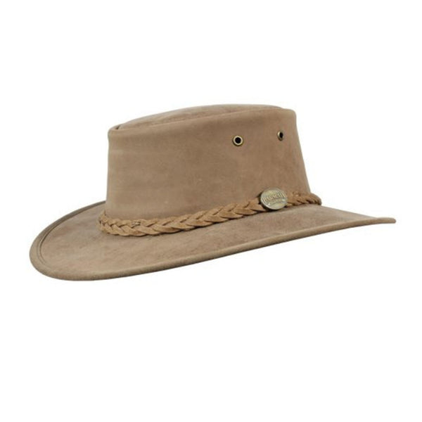 Barmah Foldaway Bronco Leather Foldable Bush Hat - Hickory Sizes S-XXL