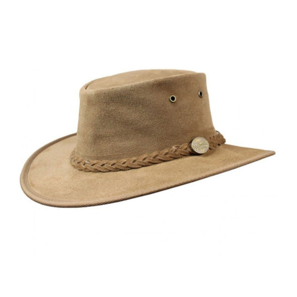 Barmah Foldaway Suede Wide Brim Bush Hat Hickory - Sizes S-XXL