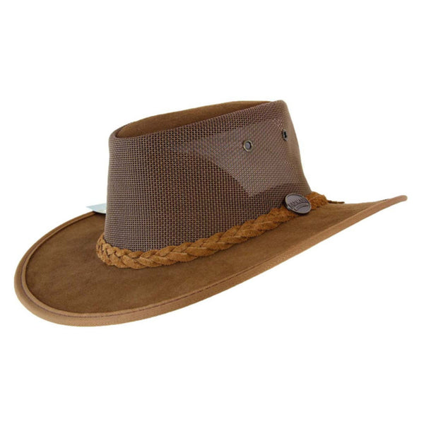 Barmah Foldaway Cooler Leather Hat with Mesh Crown Hickory - Sizes S-XXL