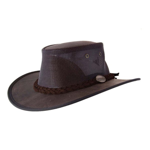 Barmah Foldaway Cooler Leather Hat with Mesh Crown Brown - Sizes S-XXL