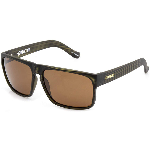 Carve Vendetta Olive Trans Streak Brown POLARISED Lens Sunglasses
