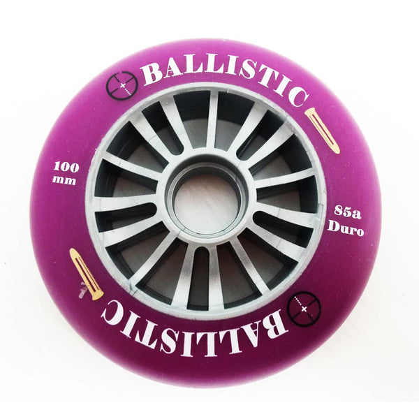 Ballistic Scooter Wheel Silver Plastic Core 100mm With Purple PU Wheel